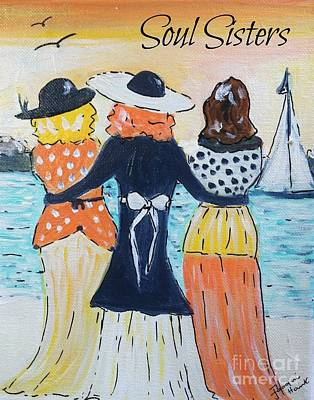 Painting - Soul Sisters At Sunset by Jacqui Hawk
