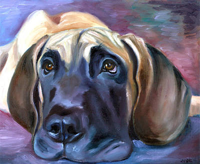 K9 Painting - Soulful - Great Dane by Lyn Cook
