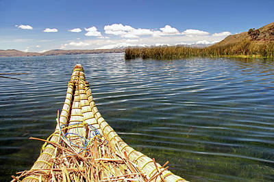 Canoe Photograph - South America, Bolivia, Lake Titicaca by Kymri Wilt