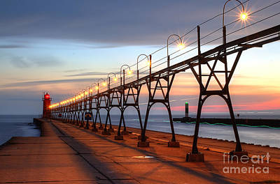 South Haven Pier In Evening Art Print by Twenty Two North Photography