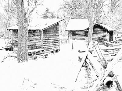 Digital Art - Oliver Miller Homestead / Outbuildings In The Snow by Digital Photographic Arts