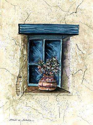 Adobe House Painting - Southwest Window Sill by Steven Schultz