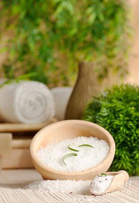 Spa Setting With Bath Salt Print by Mythja  Photography
