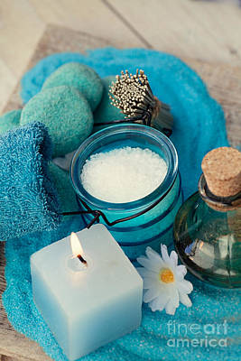 Mythja Photograph - Spa Setting With Bath Salt  by Mythja  Photography