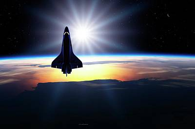 Space Shuttle In Orbit Print by Detlev Van Ravenswaay