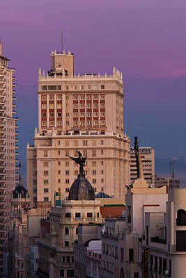 Spain, Madrid, Centro Area, Elevated Art Print by Walter Bibikow