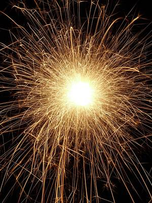 Sparkler And Sparks Art Print by Science Photo Library