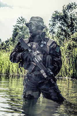 Photograph - Special Forces Soldier In Action by Oleg Zabielin