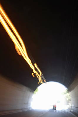 Photograph - Speeding Car Inside A Highway Tunnel by Sami Sarkis
