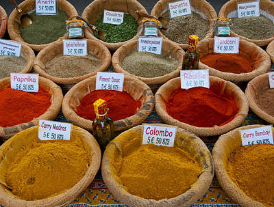Grounds For Photograph - Spices For Sale In A Weekly Market by Panoramic Images
