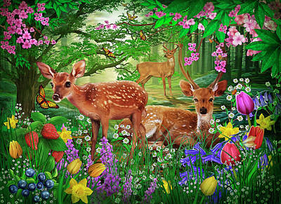 Deer Drawing - Spirit Of Spring by Ciro Marchetti
