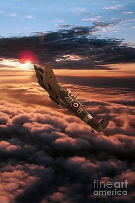 Spitfire Sundown  Art Print by J Biggadike