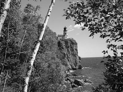 Split Rock Black And White Art Print