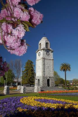 Spring Blossom And Memorial Clock Art Print