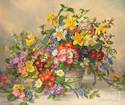 Daffodils Painting - Spring Flowers And Poole Pottery by Albert Williams