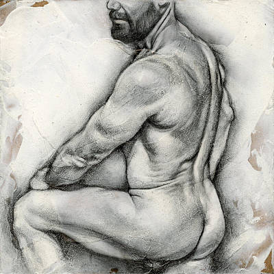 Male Nude Drawing Drawing - Square Composition 5 by Chris Lopez