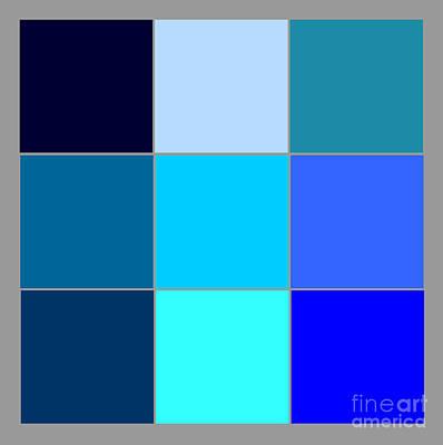 Squares - Blue Art Print by Celestial Images