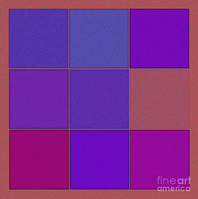 Repetition Mixed Media - Squares - Purple by Celestial Images