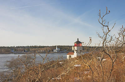 Comedian Drawings - Squirrel Point Lighthouse Kennebec River Maine by Keith Webber Jr