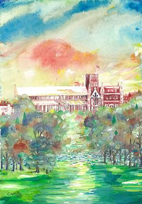 Painting - St Albans Abbey - Sunset by Giovanni Caputo