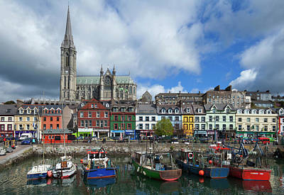 Fishing Harbour Photograph - St Colemans Cathedral From The Harbour by Panoramic Images