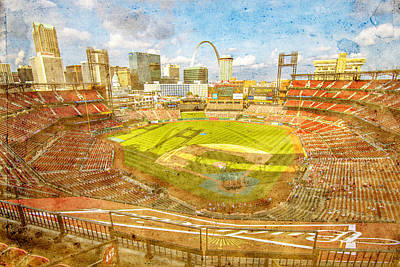 Photograph - St. Louis Cardinals Busch Stadium Texture 9252 by David Haskett
