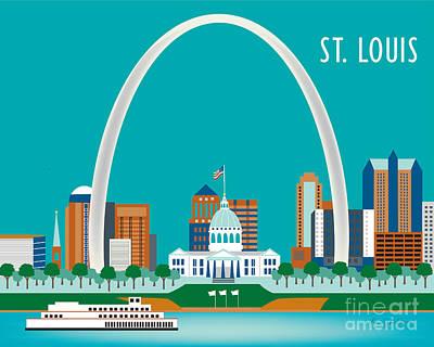 St Digital Art - St. Louis by Karen Young