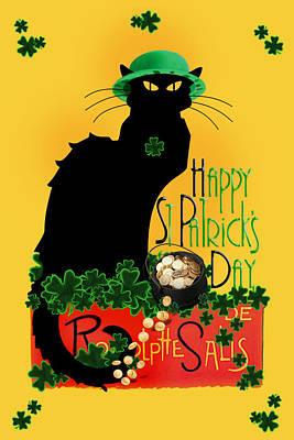 St Patrick's Day - Le Chat Noir Art Print by Gravityx9 Designs