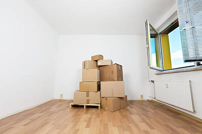Cardboard Box Photograph - Stack Of Cardboard Boxes In An Empty Room by Wladimir Bulgar