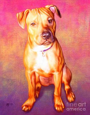 Staffie Painting - Staffie Pet Portrait by Iain McDonald