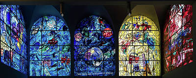 Middle East Photograph - Stained Glass Chagall Windows by Panoramic Images