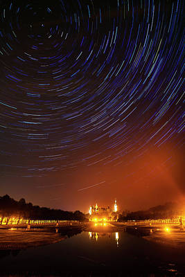 Star Trails Over Schwerin Palace Art Print