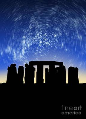 Megalith Photograph - Star Trails Over Stonehenge by Victor Habbick Visions