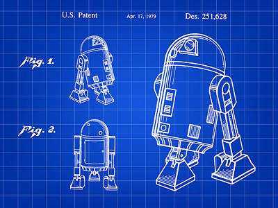 Chewbacca Digital Art - Star Wars R2-d2 Patent 1979 - Blue by Stephen Younts