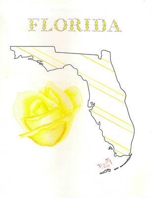 Florida Flowers Drawing - State Of Florida by Dusty Reed