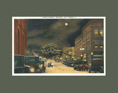 State Street Bristol Va Tn 1920's - 30's Art Print by Denise Beverly