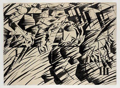 Umberto Drawing - States Of Mind Those Who Go by Umberto Boccioni