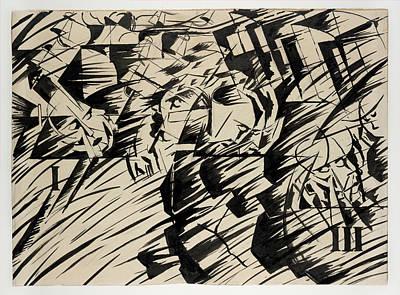 Umberto Boccioni Drawing - States Of Mind Those Who Go by Umberto Boccioni