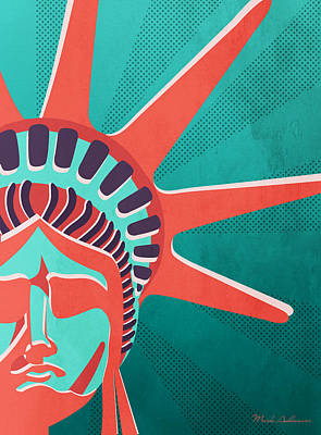 Americas Map Digital Art - Statue Of Liberty  by Mark Ashkenazi