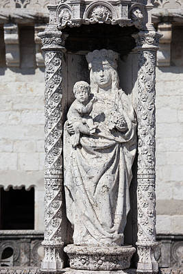 Religious Art Photograph - Statue Of St. Mary And Child At Belem Tower In Portugal by Artur Bogacki