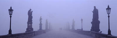 Vltava Photograph - Statues And Lampposts On A Bridge by Panoramic Images