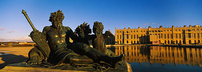 Chateau Photograph - Statues In Front Of A Castle, Chateau by Panoramic Images