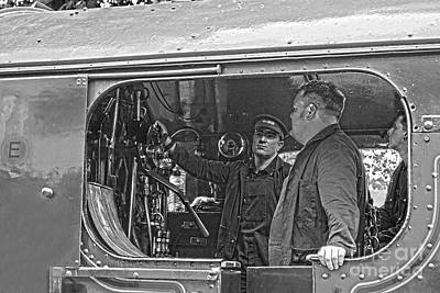 Photograph - Steam Engine Crew Hdr Black And White by Terri Waters