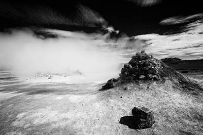 Steaming Fumarole In Iceland Black And White Art Print by Matthias Hauser