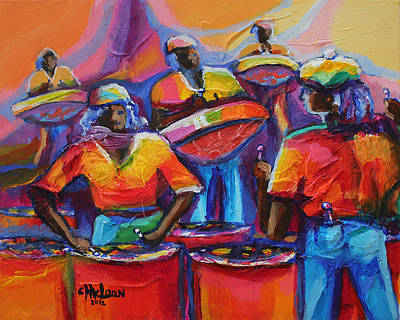 Caribbean Abstract Painting - Steel Pan by Cynthia McLean