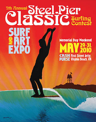 Steel Pier Classic Surf Contest Poster 2010 Print by Matthew Haddaway