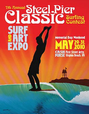Steel Pier Classic Surf Contest Poster 2010 Art Print by Matthew Haddaway