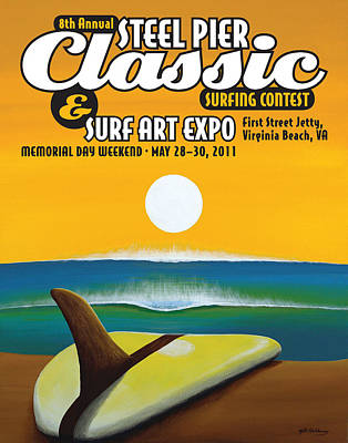 Steel Pier Classic Surf Contest Poster 2011 Print by Matthew Haddaway