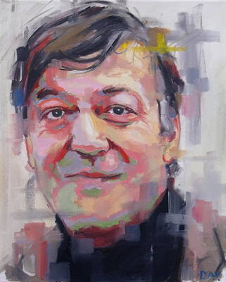 Television Painting - Stephen Fry  by Richard Day