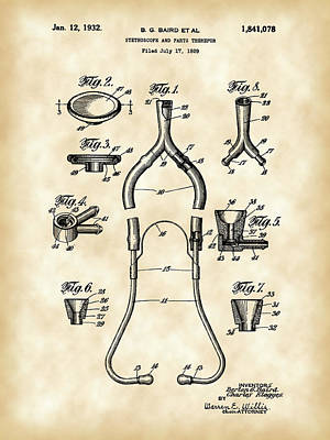 Listening Digital Art - Stethoscope Patent 1929 - Vintage by Stephen Younts